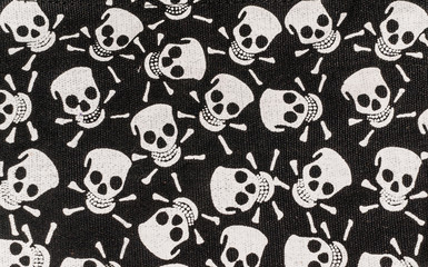 Skull and Bones. Gothic pattern on fabric