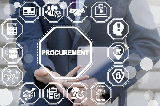 Procurement Business Concept. E-Procurement. Man offers procurement text icon on a virtual digital screen interface.