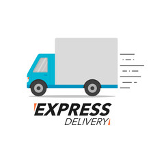Express delivery icon concept. Truck service, order, worldwide shipping.