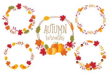 Autumn or Fall Wreath Frame vector illustration with leaves, pumpkins, and birds.