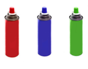 Set of spray paint cans different colors isolated on white background