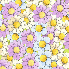 Background of multi-colored daisies