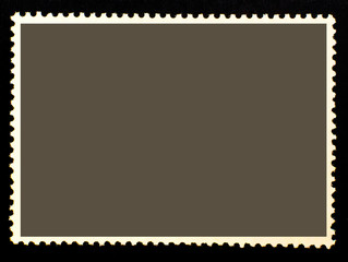 Blank dark isolated posted stamp.Template for graphic designers.