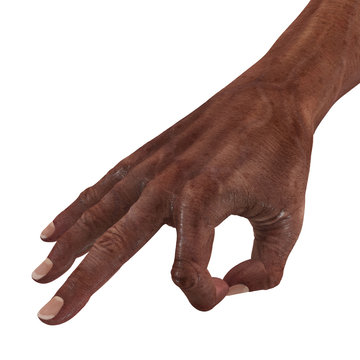Old african hand Ok Sign on a white. 3D illustration
