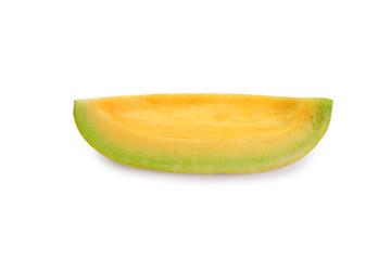 sliced cantaloupe melon isolated on white.