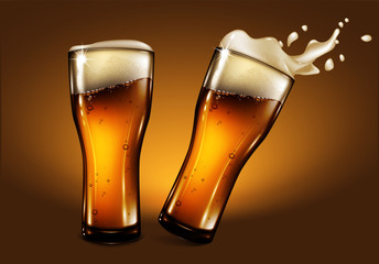Two glasses of beer with foam and a splash effect. Highly realistic illustration with the effect of transparency.