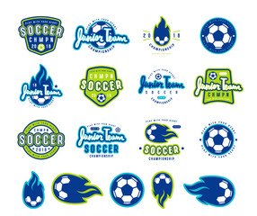 Set of soccer emblems and icons