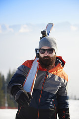 Close up of breaded man on winter trip
