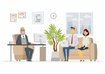 Office Head Consultation - modern vector cartoon business character illustration
