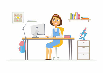 Online education - illustration of girl student at home computer