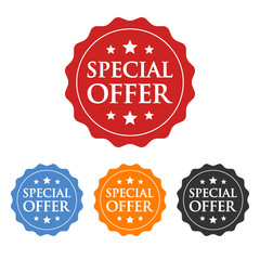 Special offer label, badge, seal or burst flat vector icon for apps and websites