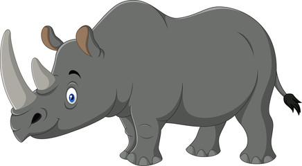 Cartoon rhino isolated on white background