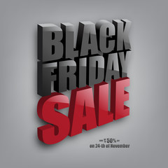 Black Friday Sale text on gray background. Vector illustration. Black Friday Sale promotion template.