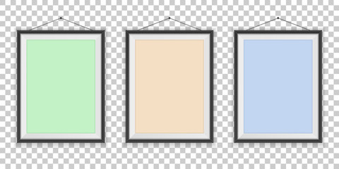 Different types of photo frames on the empty wall - background template