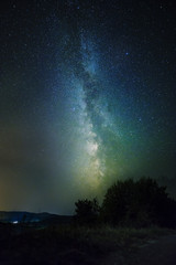 Night sky with bright milky way galaxy display