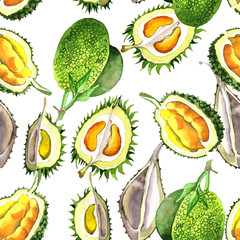 Exotic durian healthy food pattern in a watercolor style. Full name of the fruit: durian. Aquarelle wild fruit for background, texture, wrapper pattern or menu.