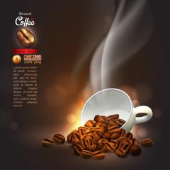 Coffee advertising design,  high detailed realistic illustration