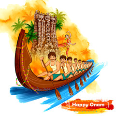 Meenakshi temple backdrop Snakeboat race in Onam celebration background for Happy Onam festival of South India Kerala