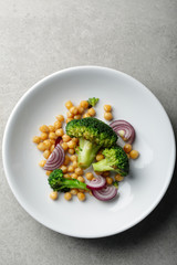 Chickpea and broccoli top view