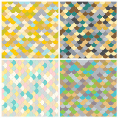 Abstract seamless vector background. A set of textures. Roof tiles. Colored Scales. Paet. Fashion. Geometric pattern. Circles. Variegated bright illustration.
