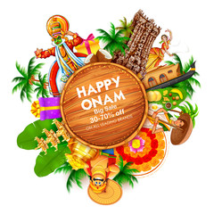 Advertisement and promotion background for Happy Onam festival of South India Kerala