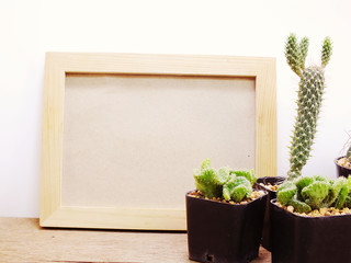 space of black board background with cactus decorate