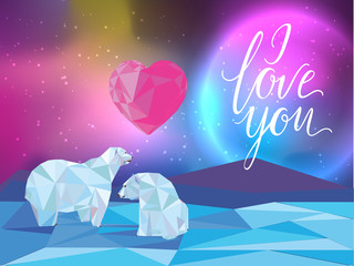 Galaxy and polar bears background for web, banners, flayers, cards. I love you lettering. Heart.