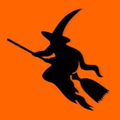 Halloween Witch. Black icon on orange background. Vector illustration