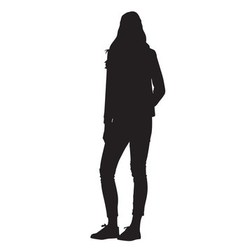 Slim tall woman standing, isolated vector silhouette