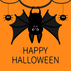 Bat hanging. Spider dash line web. Happy Halloween card. Cute cartoon character with big wing, ears and legs. Black silhouette. Forest animal. Flat design. Orange background. Isolated.