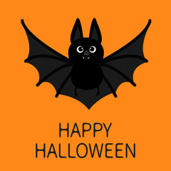 Bat flying. Happy Halloween. Cute cartoon character with big open wing, ears and legs. Black silhouette. Forest animal. Flat design. Orange background. Greeting card.