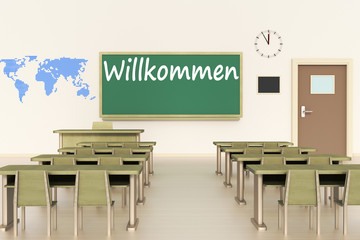 Empty classroom, 3d illustration, welcome