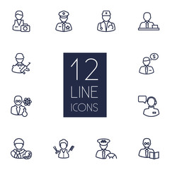 Set Of 12 Position Outline Icons Set.Collection Of Doctor, Taxi, Banker And Other Elements.