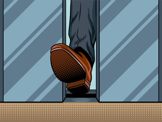 Foot holds closing elevator door pop art vector