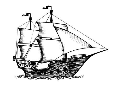 Vintage sailing ship engraving vector illustration