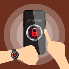 Vector illustration of mobile security