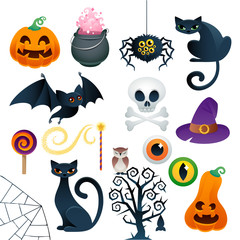 Halloween colorful icons set vector illustration.