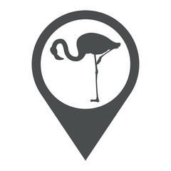 Icono plano localizacion flamingo agachado gris