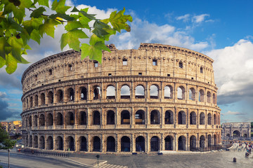 The Colosseum or Flavian Amphitheatre (Amphitheatrum Flavium or Colosseo), Rome, Italy.