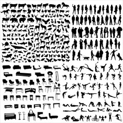A set of silhouettes of people, sports, animals and athletes.
