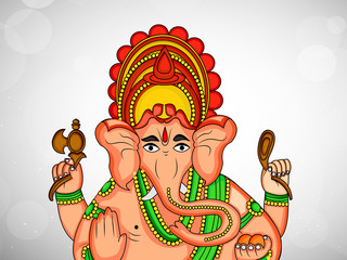 Illustration of Lord Ganesha for the hindu festival Ganesh Chaturthi celebrated in India