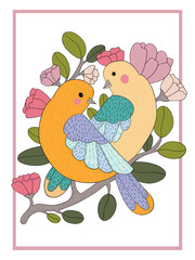 Two cute bird couple on a branch with flowers in a frame