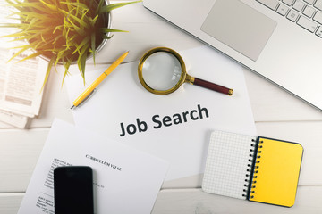 job search items on white table. top view