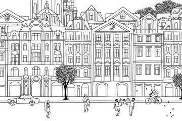 People walking through Prague- Hand drawn urban black and white scene