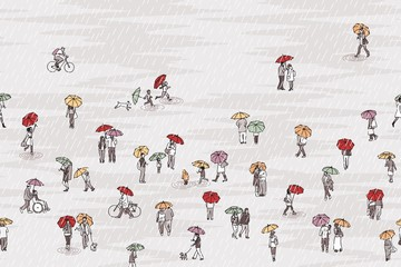 Banner with tiny grey people with colorful umbrellas, can be tiled horizontally: pedestrians in the street, a diverse collection of small hand drawn men, women and kids walking through the rain