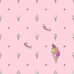 vector seamless pattern. Unicorns time concept. 043