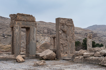 Ancient city of Persepolis, Iran. Apadana of Xerxes. UNESCO World heritage site