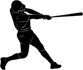 baseball player silhouette - vector