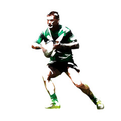 Rugby player with ball, abstract polygonal vector silhouette, front view