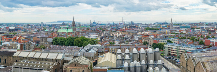 Wall Mural - Panorama of the city of Dublin, beer brewery in the foreground, Ireland